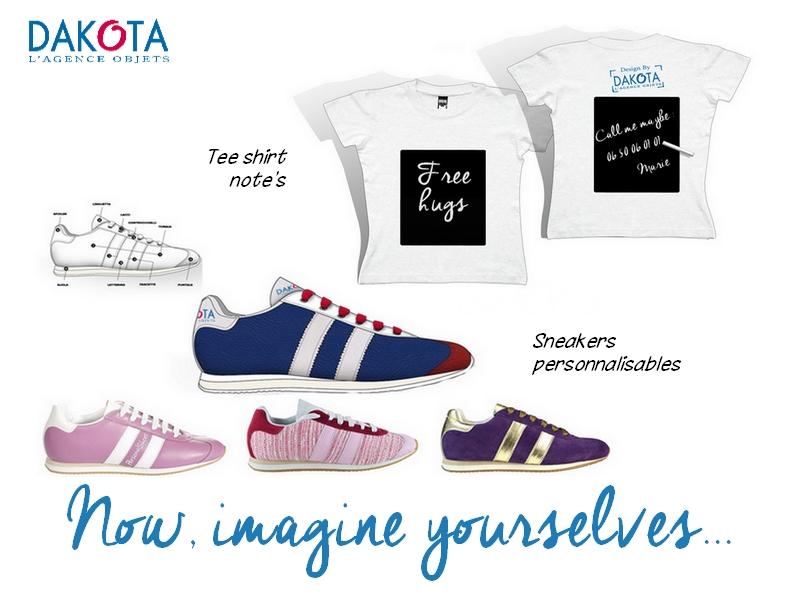 Dakota sneakers tee shirt ardoise note idée cadeau entrprise personnalisé